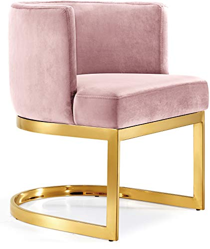 Meridian Furniture 718Pink-C Gianna Collection Modern | Contemporary Pink Velvet Upholstered Dining Chair with Polished Gold Metal Frame, 24