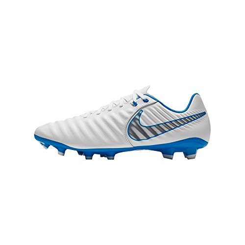 Nike Kids JR Legend 7 Elite FG Soccer Cleats, White/Metallic Grey-Blue Hero, 4