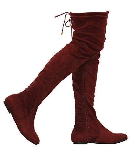 MVE Shoes Womens Fashionable Flat Over The Knee Boots - Comfortable Suede Adjustable Boots, Burgundy Suede 7