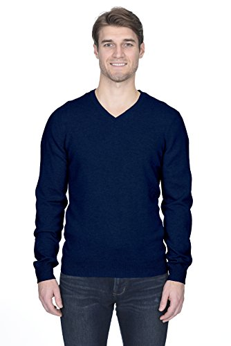 (State Fusio Men's Cashmere Wool Long Sleeve Pullover V Neck Sweater Premium Quality Navy)