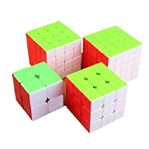I-xun® Stickerless True Color Magic Cube Set of 2x2 3x3 4x4 5x5 Cube Puzzle Pack(4 cubes)