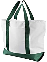 Bay View Giant Zippered Boat Tote (7006)- WHITE/FOREST, OS