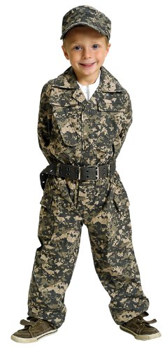 [Jr. Camouflage Suit with Cap and Belt Size: 8/10] (Ready For Action Military Costume)