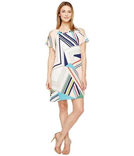 何でもパリティ毎週[アドリアナパペル] Adrianna Papell レディース Striped Maze Cold Shoulder Trapeze Dress ドレス Blue/Green Multi 8 [並行輸入品]