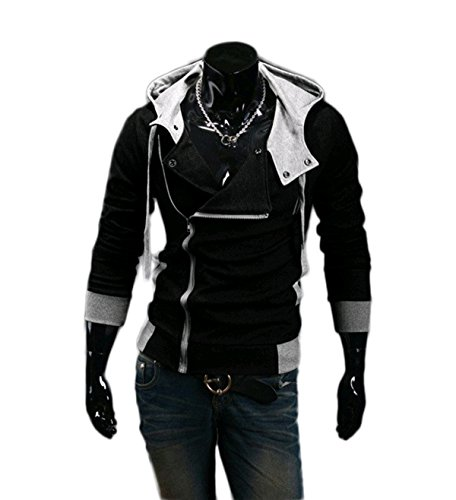 Cartiar Fleece Slanted Zip Outfit Assassins Creed Sweatshirt Hoody Jacket (Black) US 2XL(Tag 4XL) (Assassin's Creed Outfit)