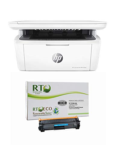 Renewable Toner LaserJet M15w Check Printer Bundle with MICR Toner Cartridge Replacement for HP CF248A 48A ()