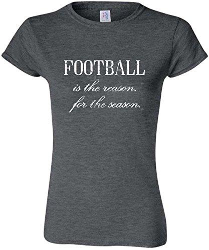 Football Cut T-shirt Womens (Football is the Reason for the Season Super Soft Heather T-Shirt (Medium, Women's Cut))