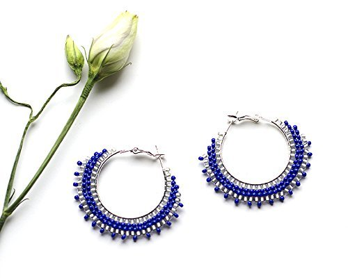 Handmade Blue Beaded Hoop Earrings Girlfriend Gift Idea for Wife Sterling Silver Plated Boho Earrings Mom Gift Idea Navy Blue Round Earrings Bohemian Royal Blue Jewellery Gift Present for -