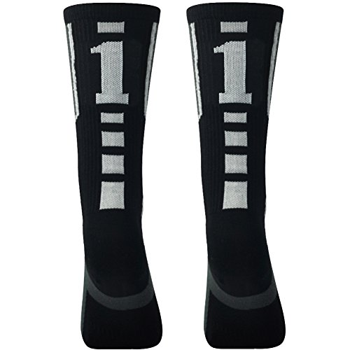 (Mid Calf Sport Socks for Men, Comifun Men's Women's Uniform Compression Football Soccer Rugby Sports Socks Black/White Over 18 Ages,1 Pair,