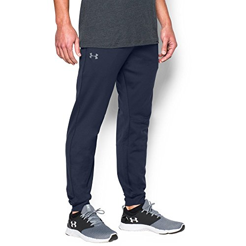 Under Armour Men's Tricot Pants – Tapered Leg, Midnight Navy/Midnight Navy, Medium