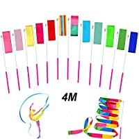 NICHNAOO 12pcs 4 Meters Gym Dance Ribbons Streamers Rhythmic Dance Ribbons Wands for Adult and Kids, Dancing Streamers, Rotating Baton and Artistic Dancing