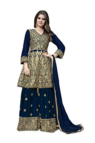 Traditonal Kameez Ethnic Blue Salwar Partywear Women Pinkcitycreations Indian Designer 0qS66U