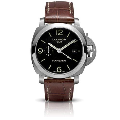(Panerai Men's PAM00320 Luminor 1950 3-Days Automatic GMT Black Dial Watch)