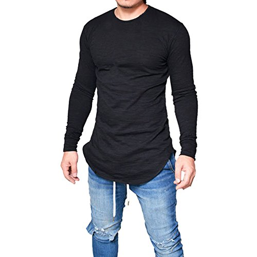 KASAAS T-Shirt for Men Solid Casual Slim Fit Crewneck Long Sleeve Simple Shirt Tops Blouse Pullover(Small,Black)