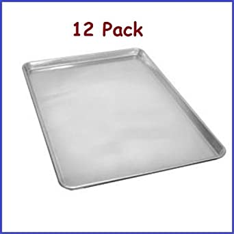 "(12 Pcs.) ChefLand Full Size Aluminum Sheet Pans Commercial Kitchen and Bakery ""NSF Approved"" 1 Dozen"