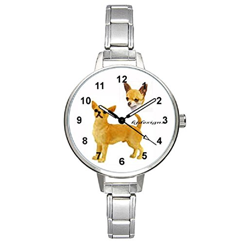 Chihuahua Ladies Stainless Steel Italian Charms Bracelet Watch
