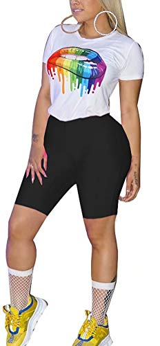 - Women Two Piece Short Sleeve Print T-Shirts and High Waist Legging Outfits Tracksuit Sports Suit Set Activewear Black L