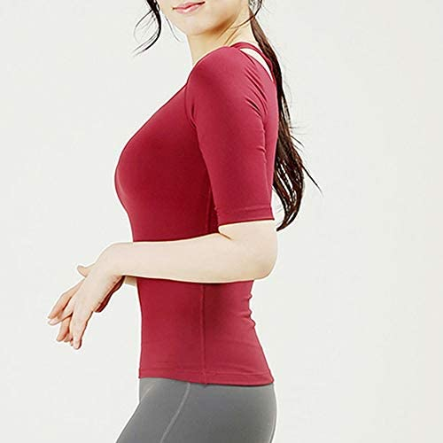 ヨガの服トップ胸パッドフィットネス服女性耐震性はスポーツウェアを実行している半袖