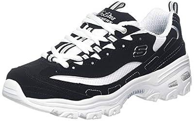 Skechers Sport Women's D'Lites-Biggest Fan Sneaker White/Black 9.5 M US