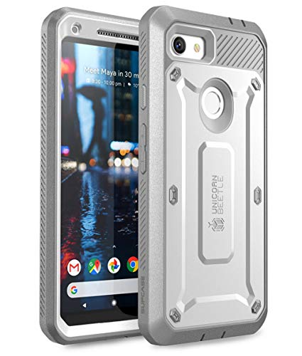 SUPCASE Unicorn Beetle Pro Series Design for Google Pixel 3a Case, Full-Body Rugged Holster Case with Built-in Screen Protector for Google Pixel 3a 2019 Release (White)