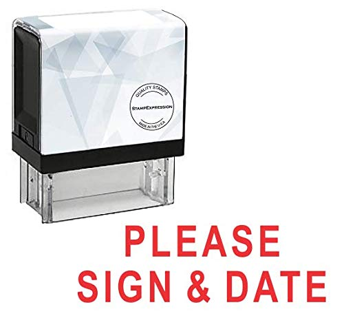 (StampExpression - Please Sign & Date Office Self Inking Rubber Stamp - Red Ink (A-5586))
