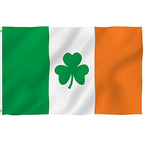 ❤Ywoow❤ Outdoor Flag, 3x5Ft Ireland Shamrock Flag Grommets Saint Patrick's Day Clover Flags -