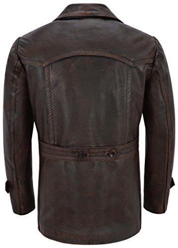 Black Pelle Dr Rub Off Vacchetta Giubbotto Da Vintage Range Di Who Smart Coat Vera Ww2 In Uomo Inspired YqB1xP