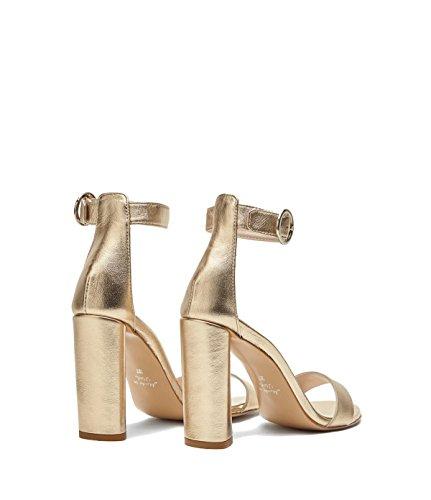 Poi Lei Scarpe Da Donna Sandali Con Il Cinturino In Pelle Di Mariella Oro Vero-fatti In Italy-