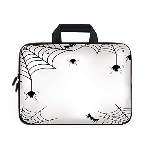 Spider Web Laptop Carrying Bag Sleeve,Neoprene Sleeve Case/Spiders Bats and Little Stars Monochrome Cobwebby Design Spooky Horror Elements/for Apple Macbook Air Samsung Google Acer HP DELL Lenovo Asus