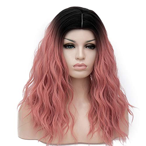 16 Colors Ombre Colored Red Blonde Brown Long Loose Wave Cosplay Wig Female Natural Wigs High Temperature Fiber,F28,As The Picture Shows ()