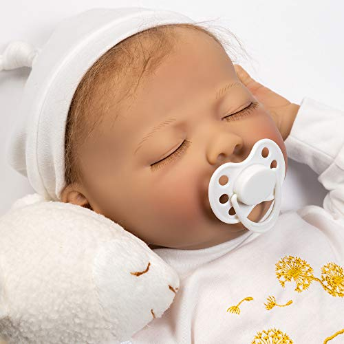 (Paradise Galleries Newborn Reborn Baby Doll with Magnetic Pacifier, Wishes and Dreams, 21 inch Sleeping Newborn Girl in GentleTouch Vinyl, 6-Piece Doll Gift Set)