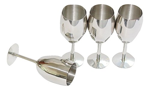 Occassional Sets (LILYS KITCHEN High Quality Stainless Steel Wine Glass Set , Shatterproof, Unbreakable, Wine Chiller, Long Stem, 12 oz, Set of 4)