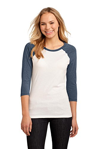 Heathered Raglan T-shirt (District Women's 50/50 3/4 Sleeve Raglan Tee M Heathered Dark Navy/ White)
