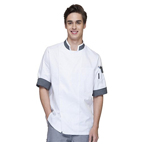 Cheflife Men's White Unisex Chef Uniforms Short Sleeve Chef Coat US:L/Tag:XXXL