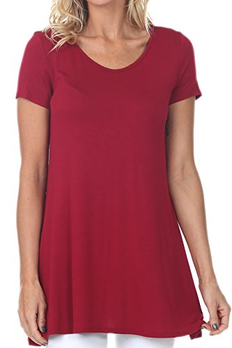 coul J WT212 Women's Scoop Neck Short Sleeve Casual Plain Flowy Simple Swing Loose T-Shirt Dress Tunic Top - Wine/Size: X-Small -