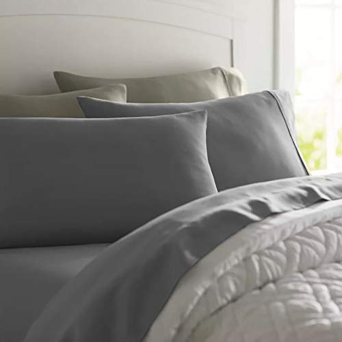 (Deluxe Tradition Crisp, Breathable and Lavishly Soft 100% Long Staple Cotton Adjustabel Bed Sheets Split King; Rich Gray 300 Thread Count Sateen Weave)