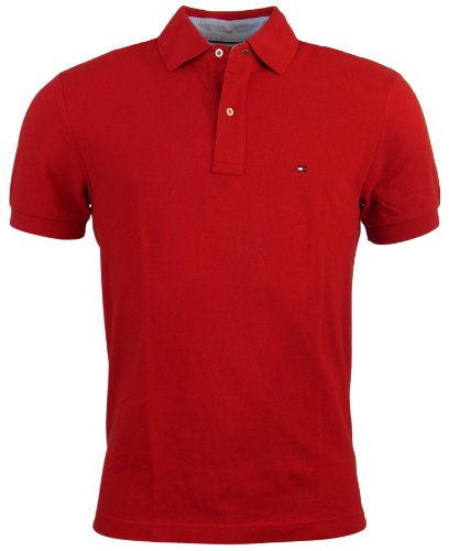 (Tommy Hilfiger Men's Classic Fit Solid Color Short Sleeve Logo Polo Shirt - S - Red)