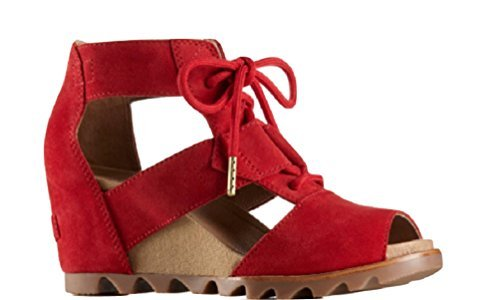 Sorel Womens Joanie Lace Wedge Sandal, Bright Red, Size 6.5 ()