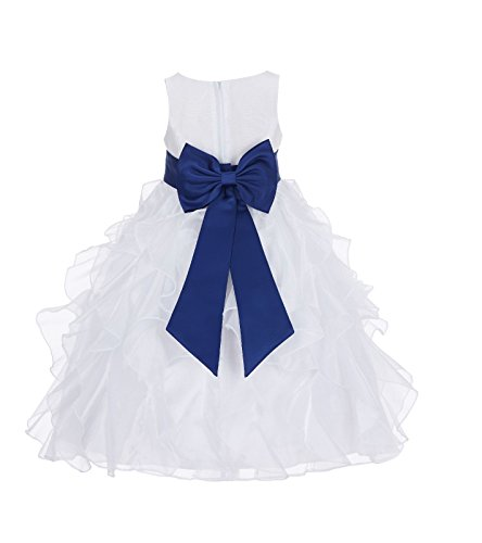 ekidsbridal Ivory Ruffled Organza Formal Flower Girl Dresses Junior Bridesmaid Dress 168T 6 -