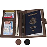 RFID Blocking Genuine Leather Passport Holder & Travel Wallet for Men and Women - Brown (Coffee Brown)