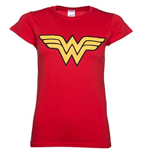 Wonder Woman Logo Ladies T Shirt, Red (Large)