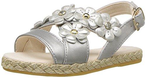 UGG Girls T Allairey Shimmer Flat Sandal, Silver, 9 M US Toddler -