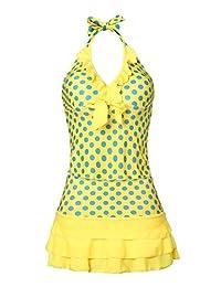 MiYang Women's Polka Dot Halter Push Up Slim Tankini Padded Swimsuit