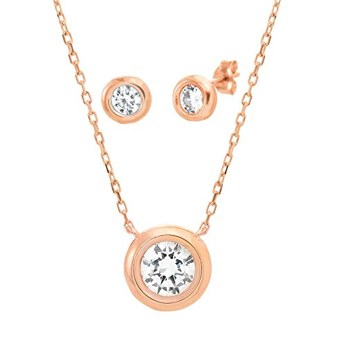 Sterling Silver Cubic Zirconia Bezel Necklace and Earring Set (Rose Gold) (Rent Costumes Online)