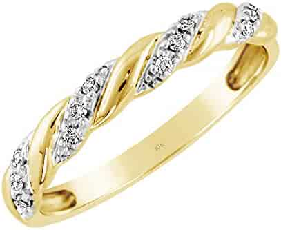 60070454b Brilliant Expressions 10K Yellow Gold 0.06 Cttw Conflict Free Diamond-Accented  Twist Wedding or Anniversary
