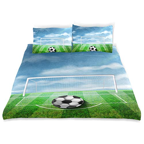 - NBTZ ZX Soccer Ball On The Green Stadium Kids Bedding Soft Crystal Velvet Cover, Three-Piece Children's Bed Set (1 Quilt + 2 Pillowcases) for Single, Double, boy and Girl