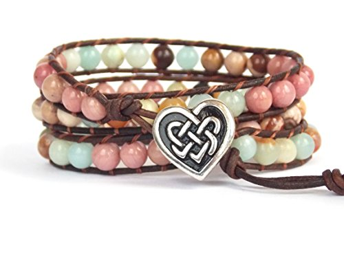Beaded Irish Bracelet (Celtic Knot Bracelet with Heart Button Leather Amazonite Rhodonite Beaded Wrap)