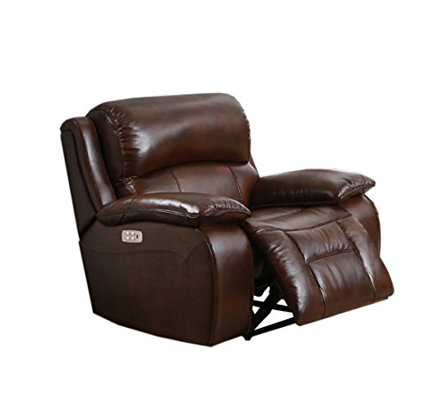 Hydeline - Westminster II Leather Power Recliner with Power Headrest, Brown