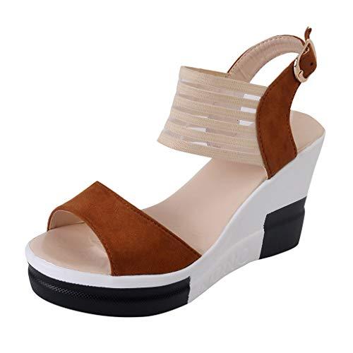 SSYUNO Women's Platform Sandals Espadrille Wedge Ankle Strap Peep Toe Sandals Summer Comfy Sandals Fashion High Heel Yellow