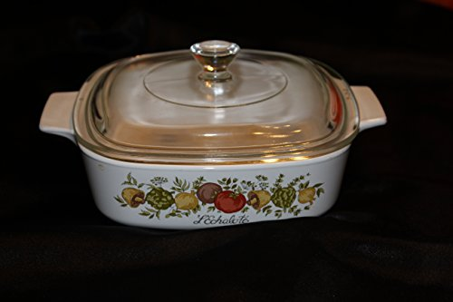 Corning Ware Spice of Life A-1-B Dish with Pyrex P-7-C Lid